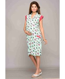 Mama & Bebe Cap Sleeves Maternity Dress Allover Bird Print - Green