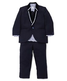 Babyhug 3 Piece Party Suit With Tie - Navy Blue White