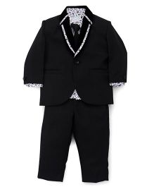 Babyhug 3 Piece Party Suit With Tie - Black White