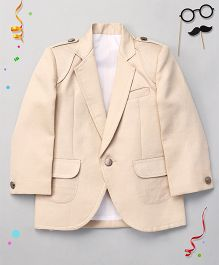 Babyhug Full Sleeves Party Wear Blazer - Fawn