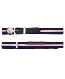 Miss Diva Patch Striped Belt - Navy Blue White & Red