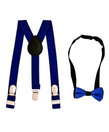 Miss Diva Suspender With Bow Set - Royal Blue