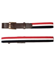 Miss Diva Strectchable Striped Belt With Leather Front - Red White & Navy Blue
