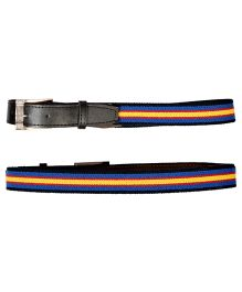 Miss Diva Strectchable Striped Belt With Leather Front - Royal Blue Red & Yellow