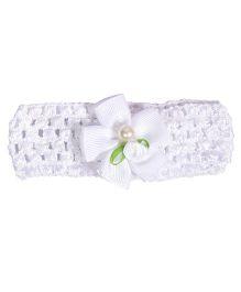 Miss Diva Pearl Bow Soft Headband - White