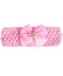 Miss Diva Bow Shining Pearl Soft Headband - Light Pink