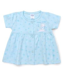 Simply Short Sleeves Front Open Frock Star & Teddy Print - Light Blue