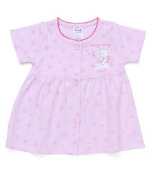 Simply Short Sleeves Front Open Frock Star & Teddy Print - Light Pink