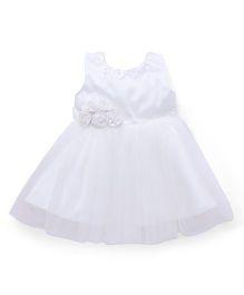 Chocopie Sleeveless Party wear Frock - White