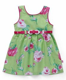 Chocopie Sleeveless Frock Flower Print - Green And Pink