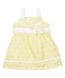Chocopie Singlet Sleeves Frock With Floral Appliques - Yellow