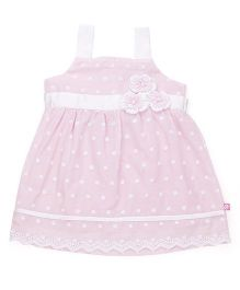 Chocopie Singlet Sleeves Frock With Floral Appliques - Pink