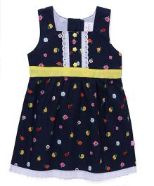 Chocopie Sleeveless Frock Flower Print - Navy & Green