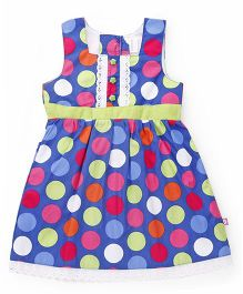 Chocopie Sleeveless Frock With Polka Dots - Blue And Green
