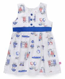 Chocopie Sleeveless Frock All Over Print - White & Blue