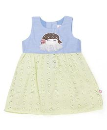 Chocopie Sleeveless Frock With Hakoba Embroidery - Blue Green