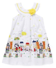Chocopie Sleeveless Frock Floral Applique And Print - Yellow White