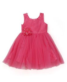 Chocopie Sleeveless Partywear Frock With Floral Motifs - Tomato Pink