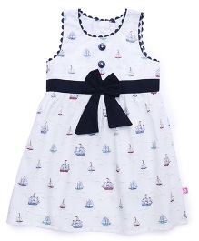 Chocopie Sleeveless Frock Boat Print With Bow Applique - White