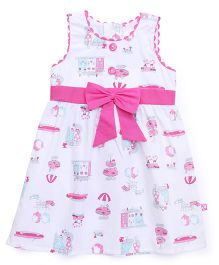 Chocopie Sleeveless Printed Frock With Bow - White Pink