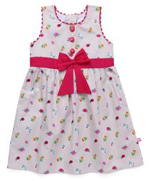 Chocopie Sleeveless Frock Floral Print With Bow - Beige & Pink