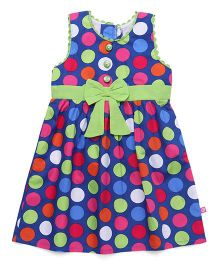 Chocopie Sleeveless Frock Polka Dots - Blue Green