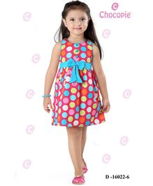 Chocopie Sleeveless Frock Polka Dots - Pink Blue