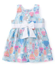 Chocopie Sleeveless Frock Printed - Light Blue