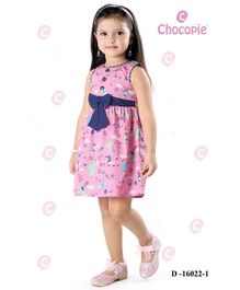 Chocopie Sleeveless Frock All Over Print - Pink & Blue