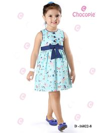 Chocopie Sleeveless Frock Bow Applique - Blue