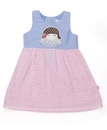 Chocopie Sleeveless Frock With Hakoba Embroidery - Blue Pink