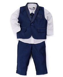 Babyhug 3 Piece Party Suit With Tie - Blue White
