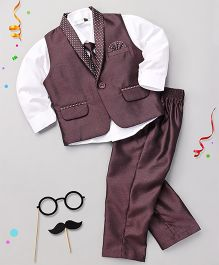 Babyhug 3 Piece Party Suit With Tie - Wine White