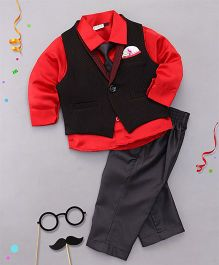 Babyhug 3 Pieces Partywear Set With Tie - Red