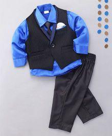 Babyhug 3 Pieces Partywear Set With Tie - Blue