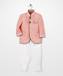 Babyhug Party Wear Jacket And Trouser Set - Peach White