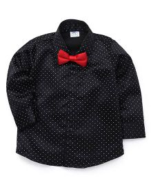 Babyhug Full Sleeves Dotted Partywear Shirt With Bow - Black