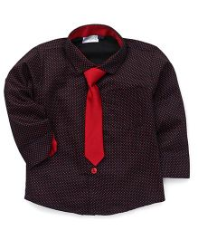 Babyhug Full Sleeves Dotted Partywear Shirt With Tie - Black & Maroon