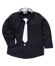 Babyhug Full Sleeves Dotted Partywear Shirt With Tie - Blue & White