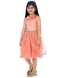Tiny Baby Peter Pan Collar Dress With Butterfly Design & A Bow Waist Belt - Peach