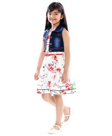 Tiny Baby Fit & Flare Floral Printed Dress With A Belt & Denim Jacket - Multicolor