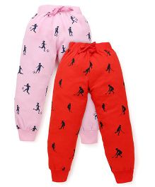 Doreme Full Length Printed Track Pants Pack Of 2 - Pink Coral