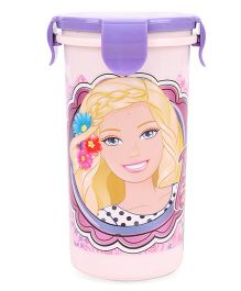 Barbie Tumbler With Clip On Lid Light Pink And Purple - 400 ml