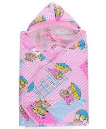 Tinycare Hooded Towel Bear Print - Pink