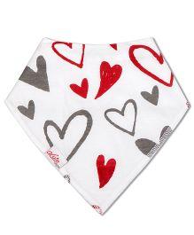 Acute Angle Hearts Printed Bib - Red Grey & White