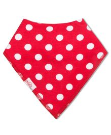 Acute Angle Polka Dot Printed Bib - Red & White