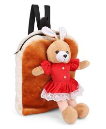Tickles Shoulder Plush Bag Rabbit Applique Red Brown - Height 13 Inches