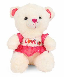 Tickles Teddy Bear Soft Toy With Jacket Cream & Pink - Height 40 cm