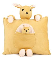 Tickles Kangaroo With Joey Design Cushion - Light Yellow