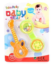Rattle Toy Guitar And Phone Shape Set Of 2 (Color May Vary)